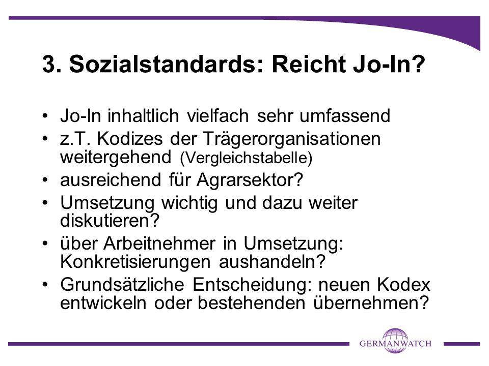 3. Sozialstandards: Reicht Jo-In? Jo-In inhaltlich vielfach sehr umfassend z.T. Kodizes der Trägerorganisationen weitergehend (Vergleichstabelle) ausr
