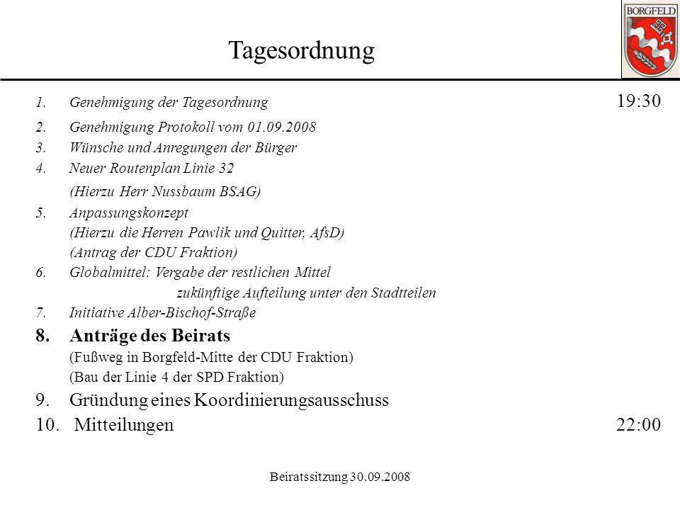 Beiratssitzung 30.09.2008 Ortsamt Borgfeld 7. Initiative Alber-Bischof-Straße: Geschwindigkeitsüberschreitung: Die relativ breite Straße innerhalb der