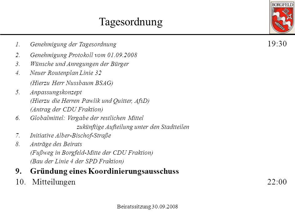 Beiratssitzung 30.09.2008 Ortsamt Borgfeld 8. Anträge des Beirats: Der Beirat Borgfeld fordert den Senator für Umwelt, Bau, Verkehr und Europa auf, du