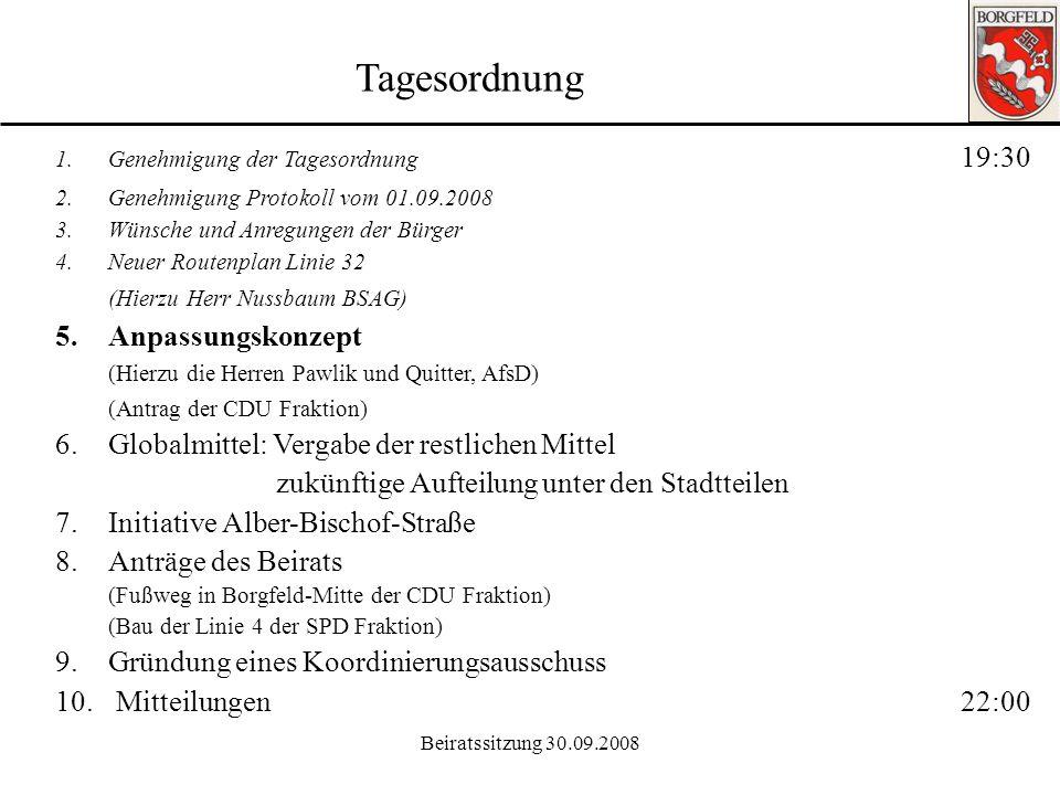 Beiratssitzung 30.09.2008 Tagesordnung 1.Genehmigung der Tagesordnung 19:30 2.Genehmigung Protokoll vom 01.09.2008 3.Wünsche und Anregungen der Bürger