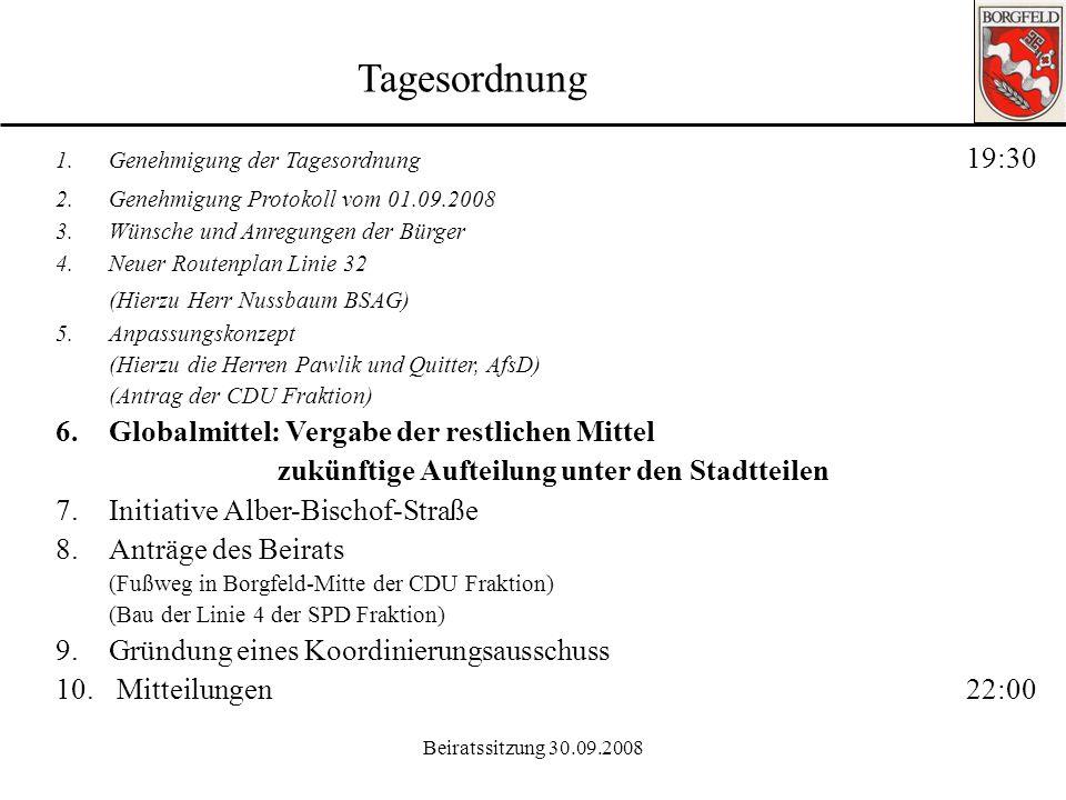 Beiratssitzung 30.09.2008 Ortsamt Borgfeld 5. Anpassungskonzept Antrag der CDU Fraktion Anpassungskonzeptes für die stadtteilbezogene Kinder- und Juge