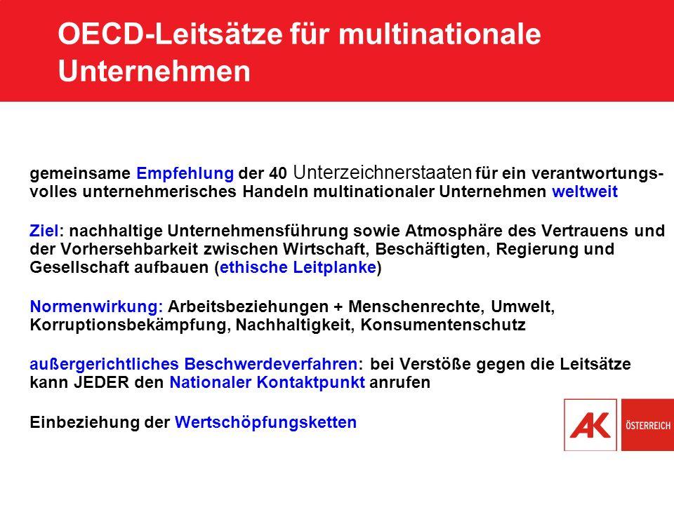 OECD-Leitsätze für multinationale Unternehmen gemeinsame Empfehlung der 40 Unterzeichnerstaaten für ein verantwortungs- volles unternehmerisches Hande