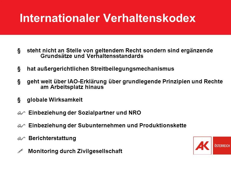 Internationaler Verhaltenskodex § steht nicht an Stelle von geltendem Recht sondern sind ergänzende Grundsätze und Verhaltensstandards § hat außergeri