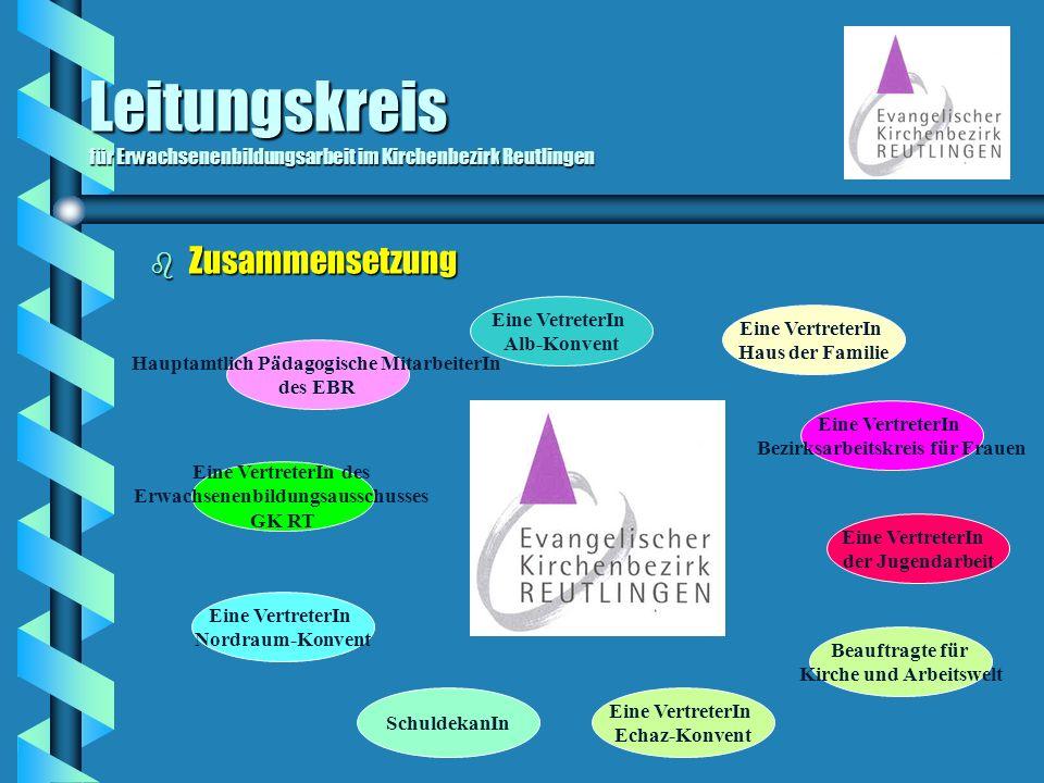 Leitungskreis für Erwachsenenbildungsarbeit im Kirchenbezirk Reutlingen b Zusammensetzung Hauptamtlich Pädagogische MitarbeiterIn des EBR SchuldekanIn