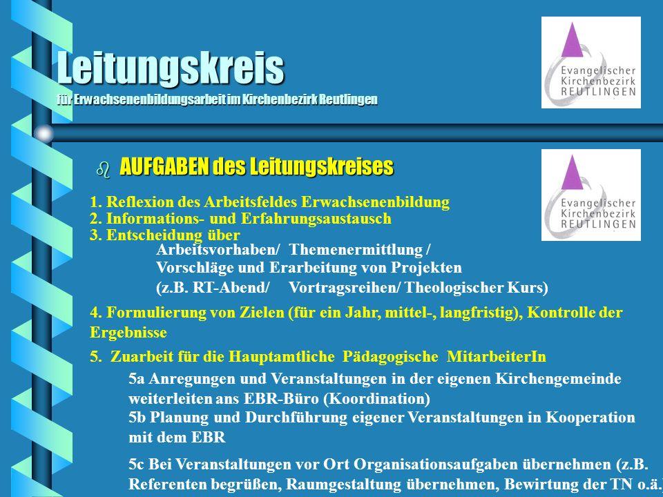 Leitungskreis für Erwachsenenbildungsarbeit im Kirchenbezirk Reutlingen b AUFGABEN des Leitungskreises 1. Reflexion des Arbeitsfeldes Erwachsenenbildu