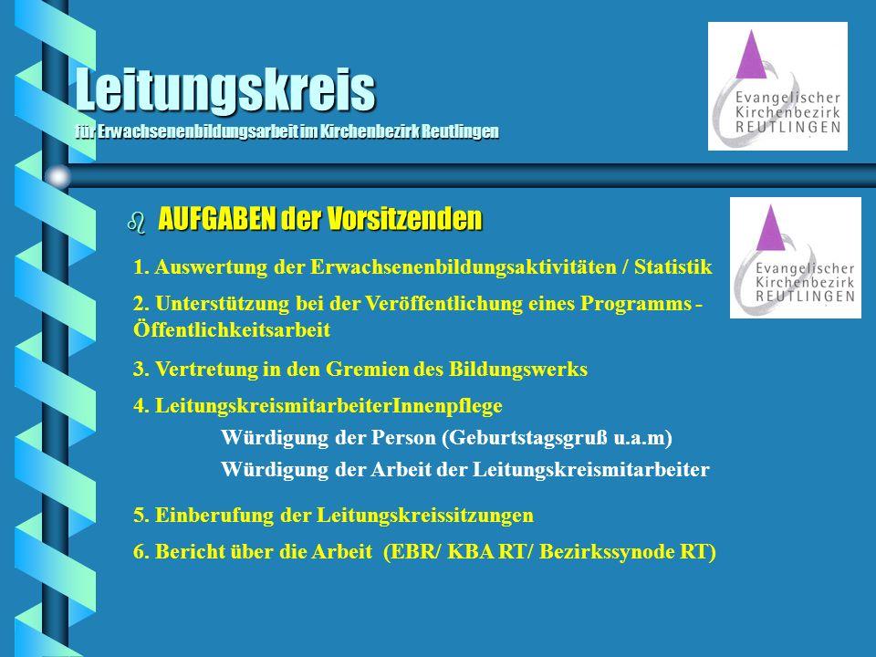 Leitungskreis für Erwachsenenbildungsarbeit im Kirchenbezirk Reutlingen b AUFGABEN der Vorsitzenden 3. Vertretung in den Gremien des Bildungswerks 2.