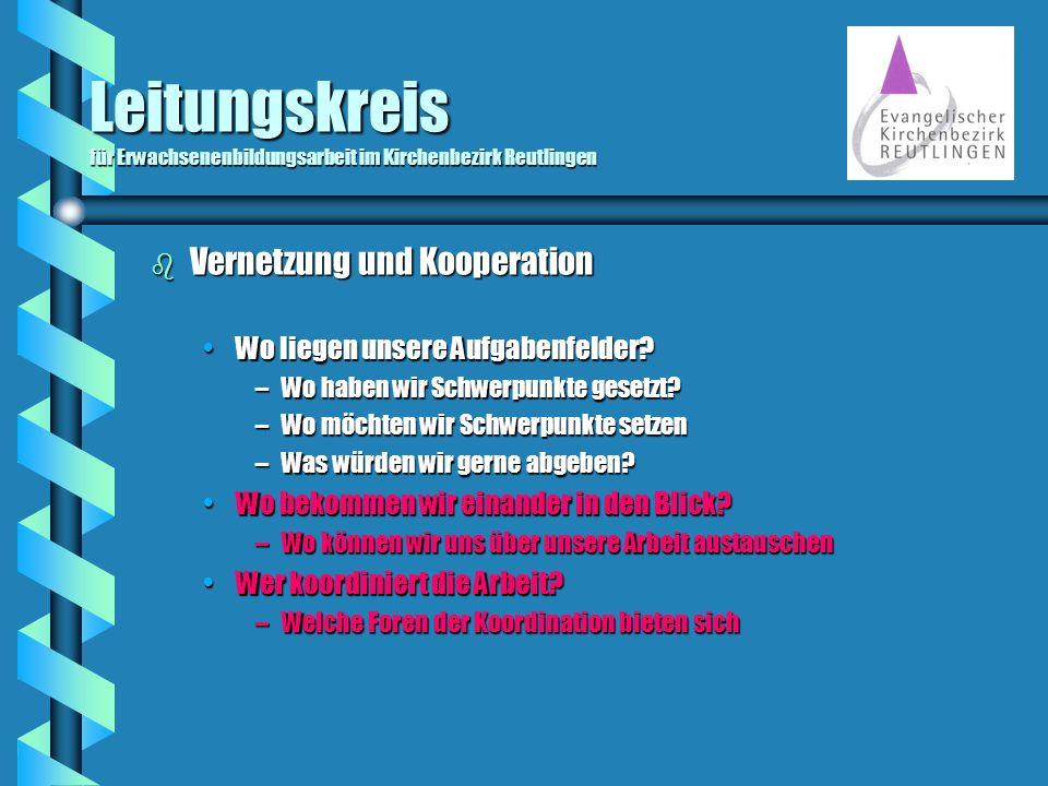 Leitungskreis für Erwachsenenbildungsarbeit im Kirchenbezirk Reutlingen b Vernetzung und Kooperation Wo liegen unsere Aufgabenfelder?Wo liegen unsere