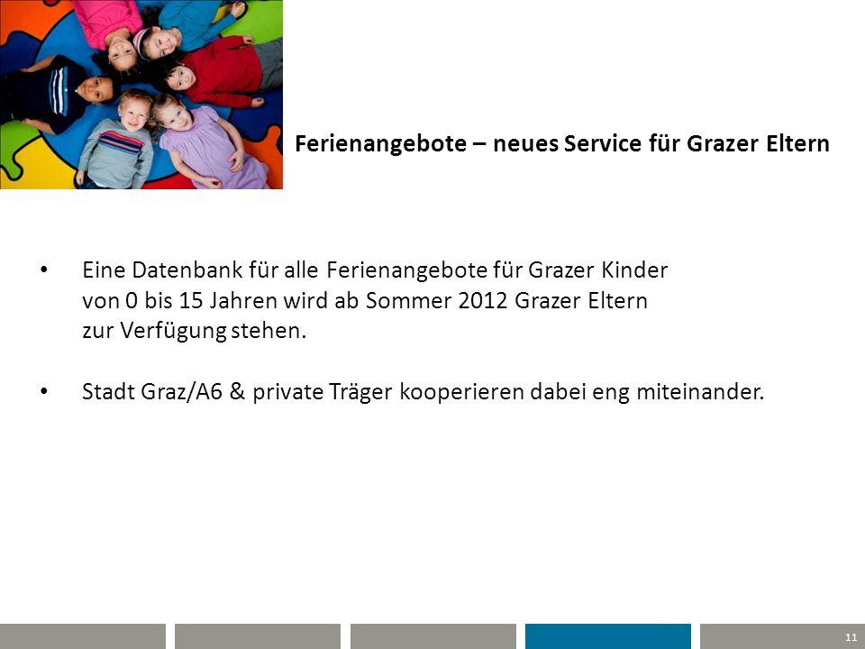 11 Ferienangebote – neues Service für Grazer Eltern Eine Datenbank für alle Ferienangebote für Grazer Kinder von 0 bis 15 Jahren wird ab Sommer 2012 G