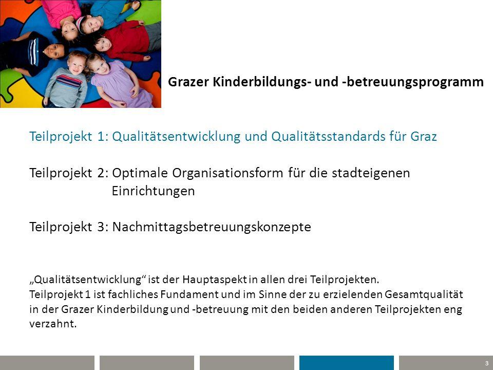3 Grazer Kinderbildungs- und -betreuungsprogramm Teilprojekt 1: Qualitätsentwicklung und Qualitätsstandards für Graz Teilprojekt 2: Optimale Organisat