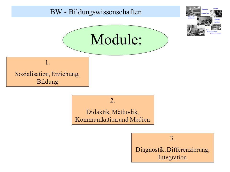 BW - Bildungswissenschaften Module: 1. Sozialisation, Erziehung, Bildung 2. Didaktik, Methodik, Kommunikation und Medien 3. Diagnostik, Differenzierun