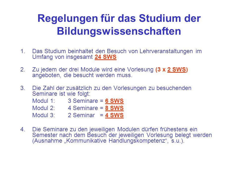 Regelungen für das Studium der Bildungswissenschaften 1.Das Studium beinhaltet den Besuch von Lehrveranstaltungen im Umfang von insgesamt 24 SWS 2.Zu