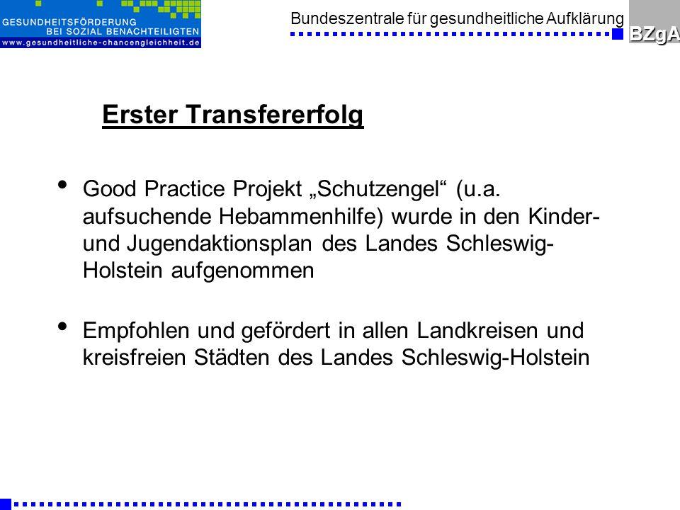 Bundeszentrale für gesundheitliche AufklärungBZgA Erster Transfererfolg Good Practice Projekt Schutzengel (u.a.