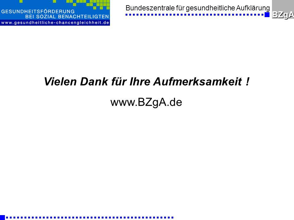 Bundeszentrale für gesundheitliche AufklärungBZgA Vielen Dank für Ihre Aufmerksamkeit ! www.BZgA.de