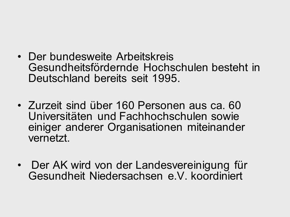 Der bundesweite Arbeitskreis Gesundheitsfördernde Hochschulen besteht in Deutschland bereits seit 1995. Zurzeit sind über 160 Personen aus ca. 60 Univ
