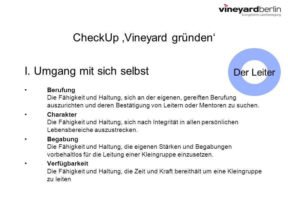 CheckUp Vineyard gründen I. Umgang mit sich selbst Berufung Die Fähigkeit und Haltung, sich an der eigenen, gereiften Berufung auszurichten und deren