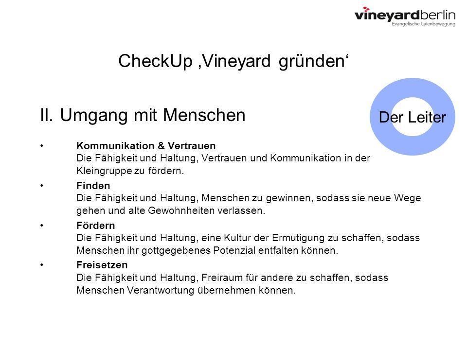 CheckUp Vineyard gründen II. Umgang mit Menschen Kommunikation & Vertrauen Die Fähigkeit und Haltung, Vertrauen und Kommunikation in der Kleingruppe z