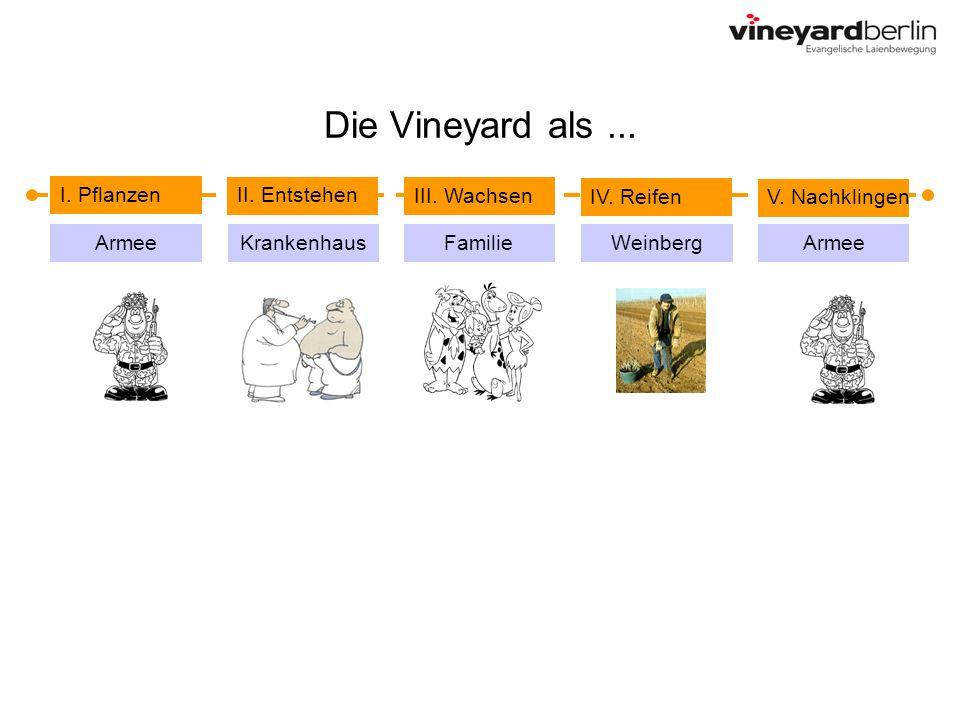 Die Vineyard als... I. Pflanzen II. Entstehen IV. Reifen V. Nachklingen III. Wachsen Armee FamilieKrankenhausArmeeWeinberg