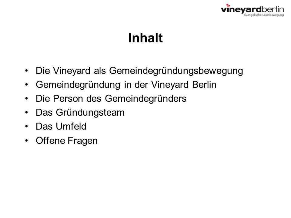 Inhalt Die Vineyard als Gemeindegründungsbewegung Gemeindegründung in der Vineyard Berlin Die Person des Gemeindegründers Das Gründungsteam Das Umfeld