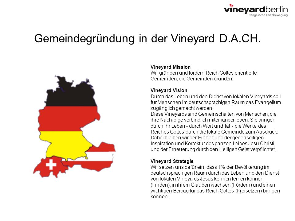 Gemeindegründung in der Vineyard D.A.CH. Vineyard Mission Wir gründen und fördern Reich Gottes orientierte Gemeinden, die Gemeinden gründen. Vineyard