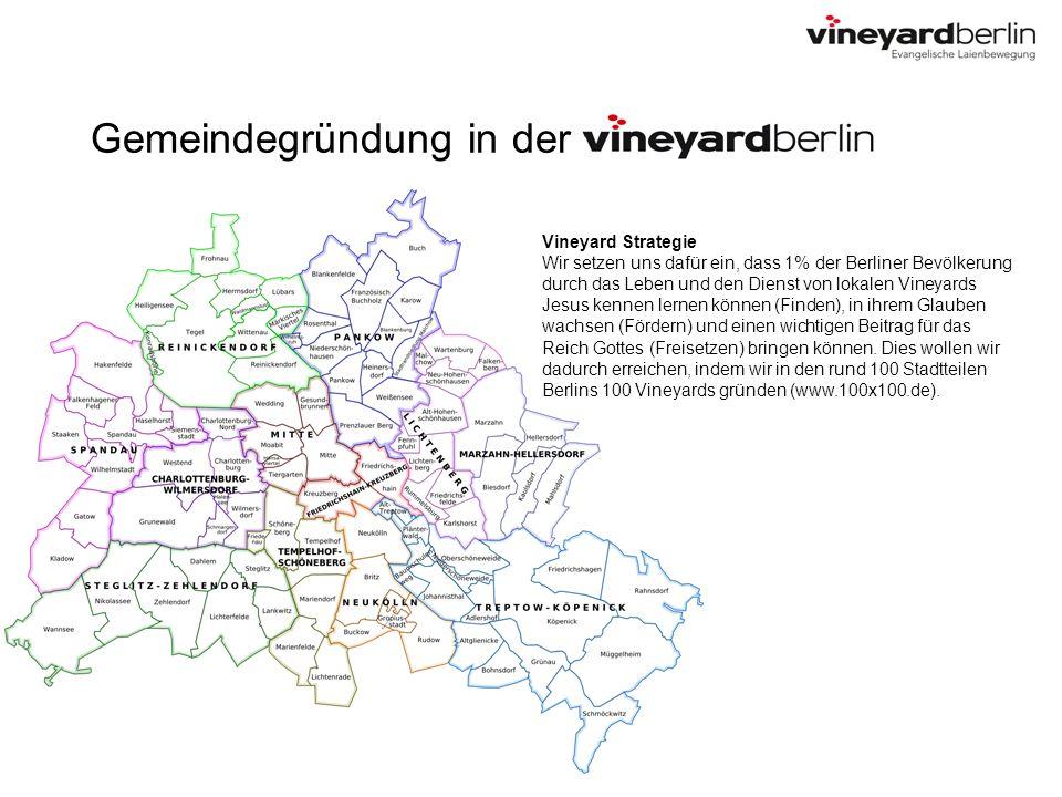 Gemeindegründung in der Vineyard Strategie Wir setzen uns dafür ein, dass 1% der Berliner Bevölkerung durch das Leben und den Dienst von lokalen Viney