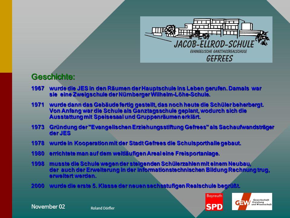 November 02 Roland Dörfler Ganztagsschule Ganzheitliche Erziehung Die Jacob-Ellrod-Schule ist eine Ganztagsschule in