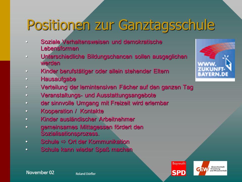 November 02 Roland Dörfler Positionen zur Ganztagsschule Allgemeine Zielsetzungen der Ganztagsschule Ganztagsschule bietet in ihrer voll ausgebauten F