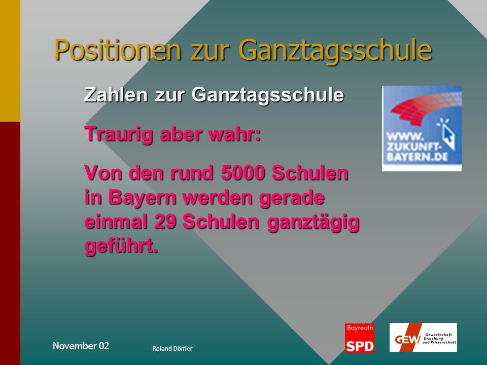 November 02 Roland Dörfler Positionen zur Ganztagsschule Soziale Verhaltensweisen und demokratische LebensformenSoziale Verhaltensweisen und demokrati