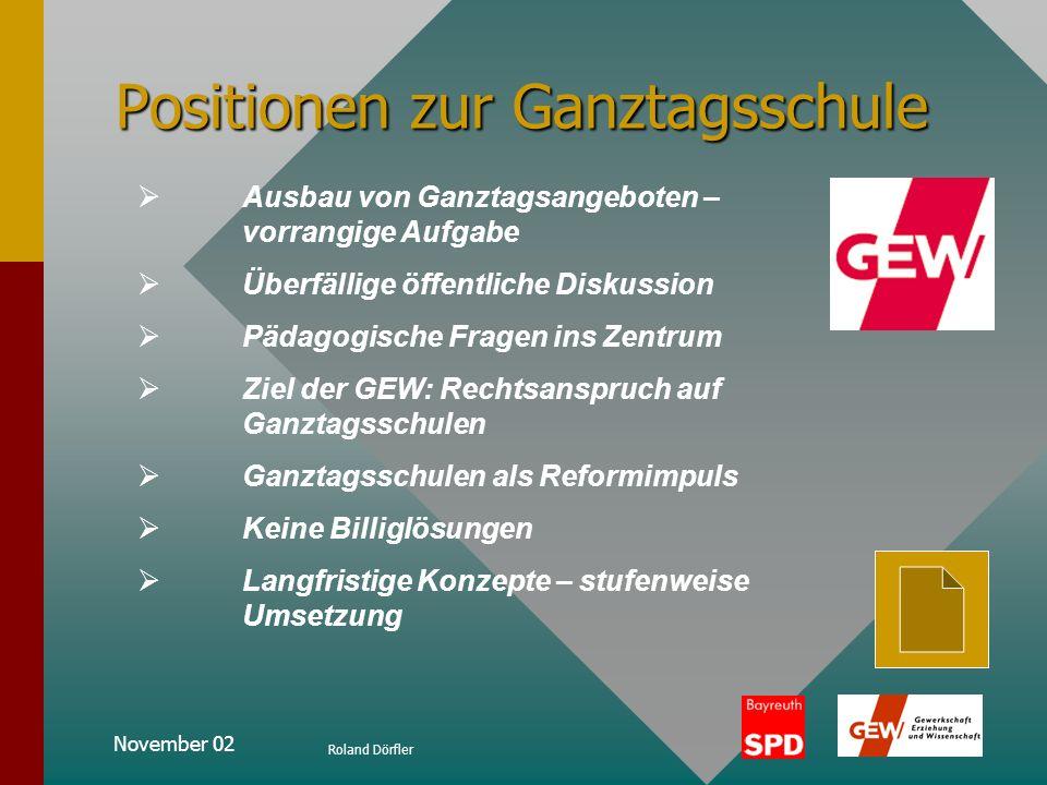 November 02 Roland Dörfler Positionen zur Ganztagsschule Die Finanzierung durchschnittliche Kosten für einen Schüler in Bayern: 4200 im normalen Vormi