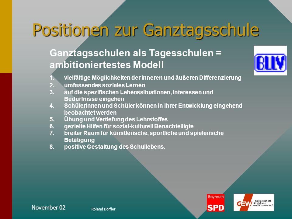 November 02 Roland Dörfler Positionen zur Ganztagsschule Die Ganztagsschule als bedarfsgerechtes Angebot 3 Hauptmotive: 1.Motiv der Vereinbarkeit von