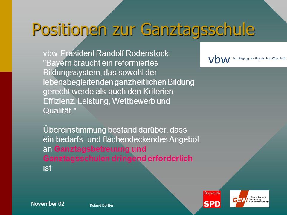 November 02 Roland Dörfler Positionen zur Ganztagsschule aus Pressemitteilung vom 13.07.2001 Deimer: