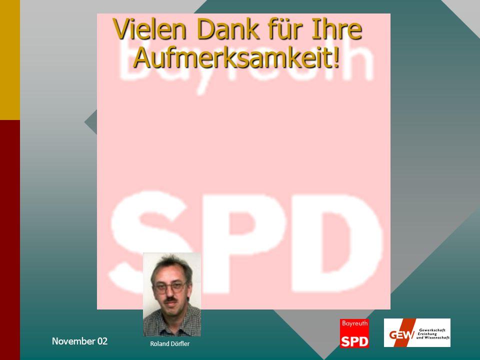 November 02 Roland Dörfler Positionen zur Ganztagsschule vbw-Präsident Randolf Rodenstock: