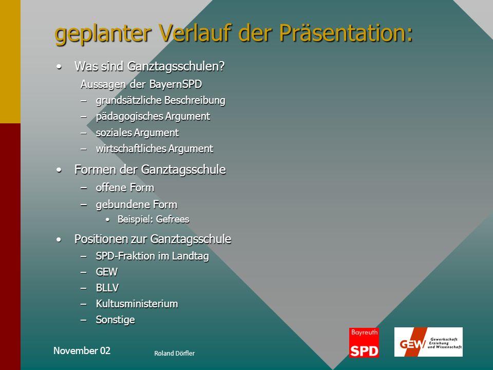 November 02 Roland Dörfler Positionen zur Ganztagsschule Ganztagsschulen in Bayern aufgeschlüsselt nach Bezirken