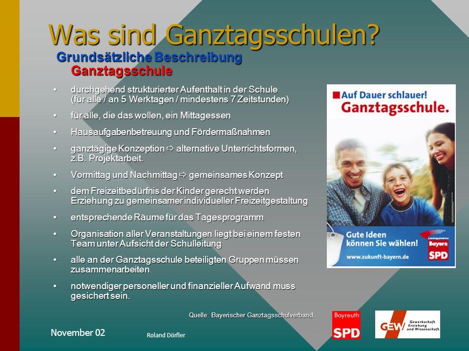 November 02 Roland Dörfler geplanter Verlauf der Präsentation: Was sind Ganztagsschulen?Was sind Ganztagsschulen? Aussagen der BayernSPD –grundsätzlic