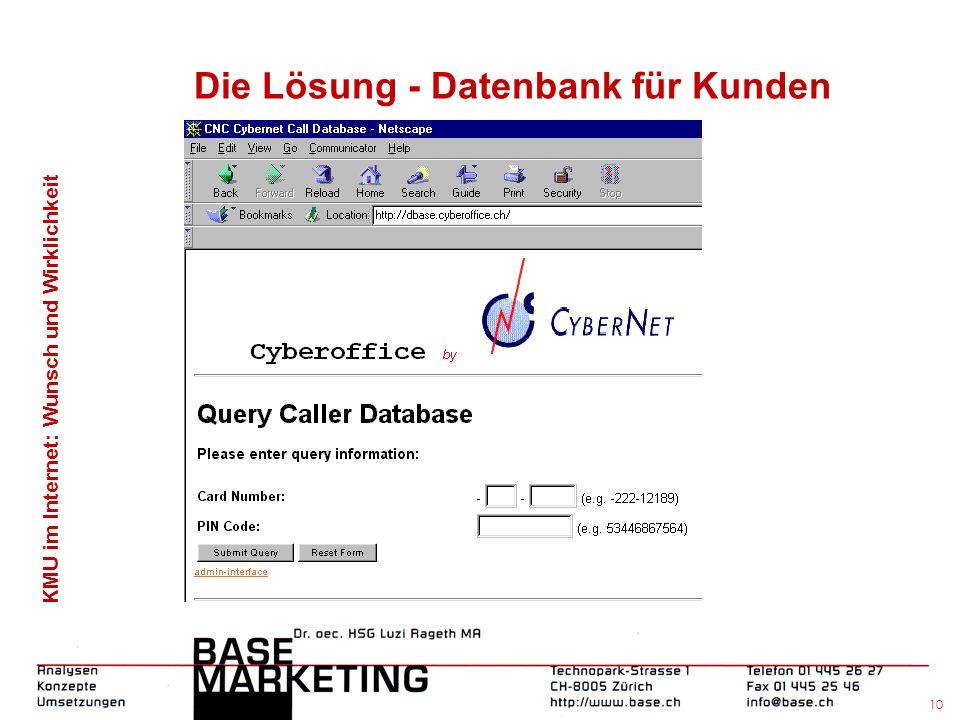 KMU im Internet: Wunsch und Wirklichkeit 9 Die Lösung - Cyberoffice Homepage