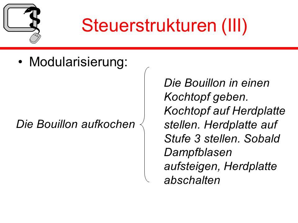 Steuerstrukturen (III) Modularisierung: Die Bouillon aufkochen Die Bouillon in einen Kochtopf geben. Kochtopf auf Herdplatte stellen. Herdplatte auf S
