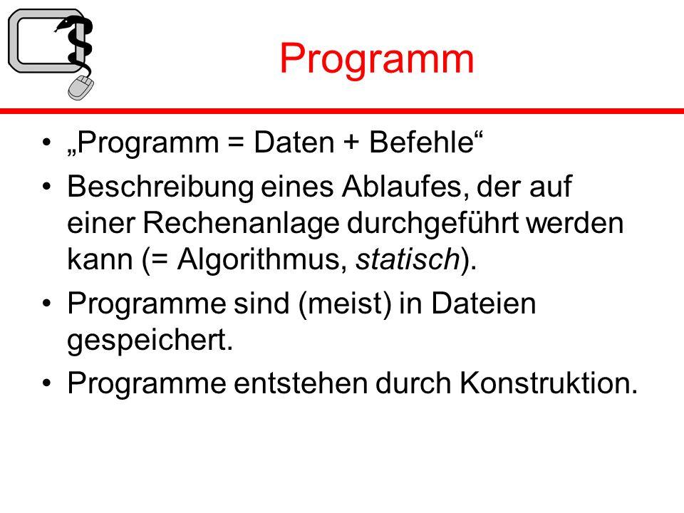 Programm Programm = Daten + Befehle Beschreibung eines Ablaufes, der auf einer Rechenanlage durchgeführt werden kann (= Algorithmus, statisch). Progra