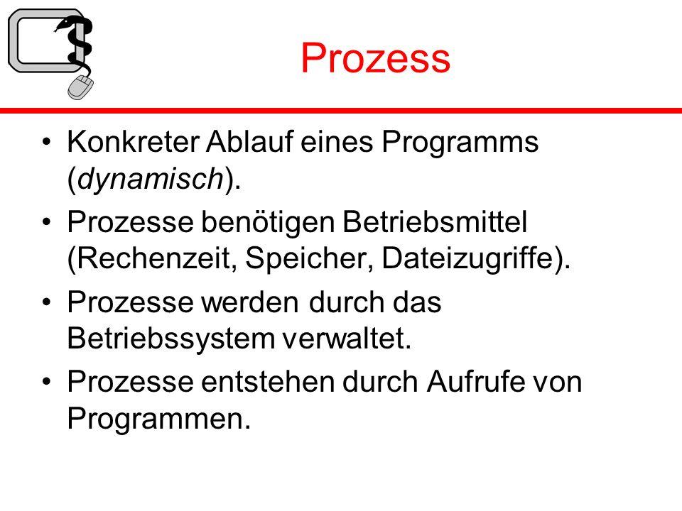 Prozess Konkreter Ablauf eines Programms (dynamisch). Prozesse benötigen Betriebsmittel (Rechenzeit, Speicher, Dateizugriffe). Prozesse werden durch d