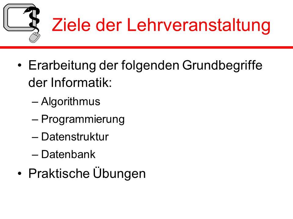 Ziele der Lehrveranstaltung Erarbeitung der folgenden Grundbegriffe der Informatik: –Algorithmus –Programmierung –Datenstruktur –Datenbank Praktische