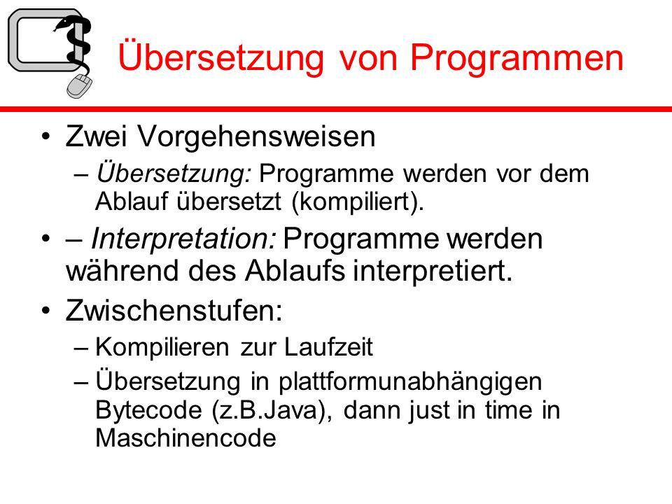 Übersetzung von Programmen Zwei Vorgehensweisen – Übersetzung: Programme werden vor dem Ablauf übersetzt (kompiliert). – Interpretation: Programme wer
