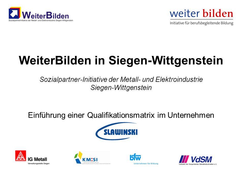 WeiterBilden in Siegen-Wittgenstein Sozialpartner-Initiative der Metall- und Elektroindustrie Siegen-Wittgenstein Einführung einer Qualifikationsmatri