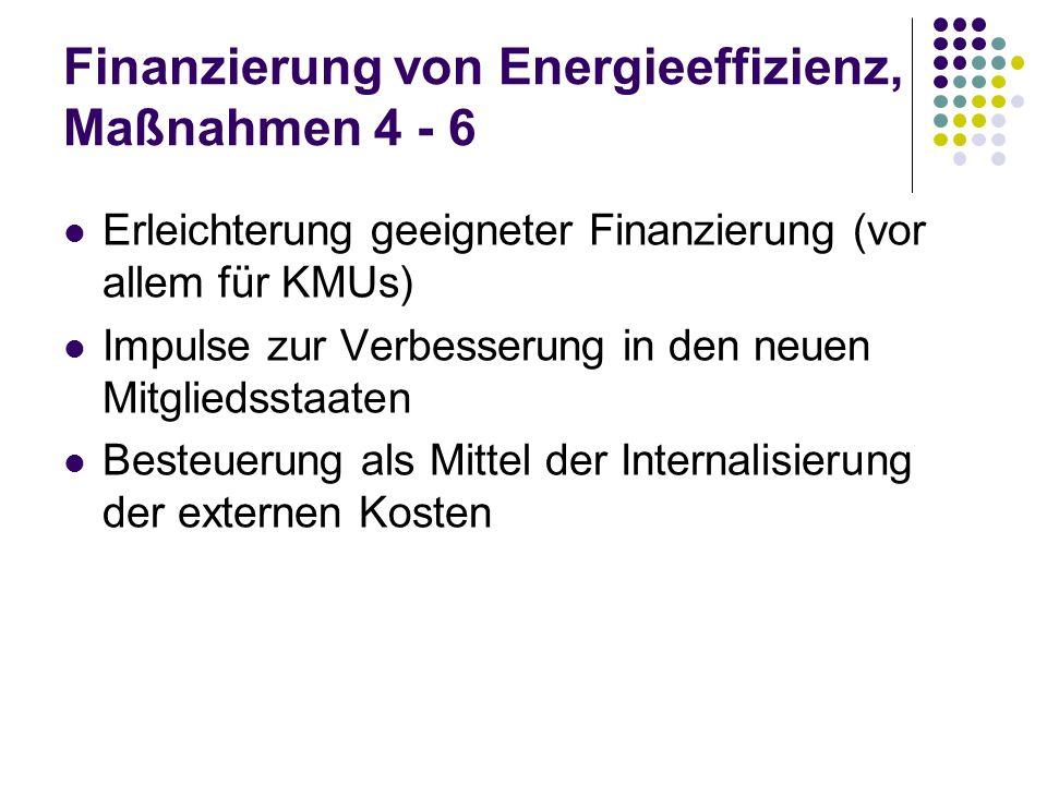 Finanzierung von Energieeffizienz, Maßnahmen 4 - 6 Erleichterung geeigneter Finanzierung (vor allem für KMUs) Impulse zur Verbesserung in den neuen Mi
