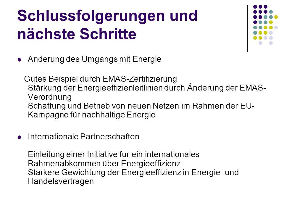 Schlussfolgerungen und nächste Schritte Änderung des Umgangs mit Energie Gutes Beispiel durch EMAS-Zertifizierung Stärkung der Energieeffizienleitlini