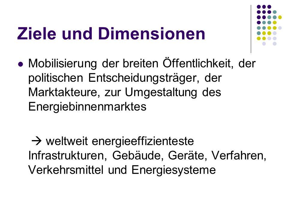 Ziele und Dimensionen Mobilisierung der breiten Öffentlichkeit, der politischen Entscheidungsträger, der Marktakteure, zur Umgestaltung des Energiebin