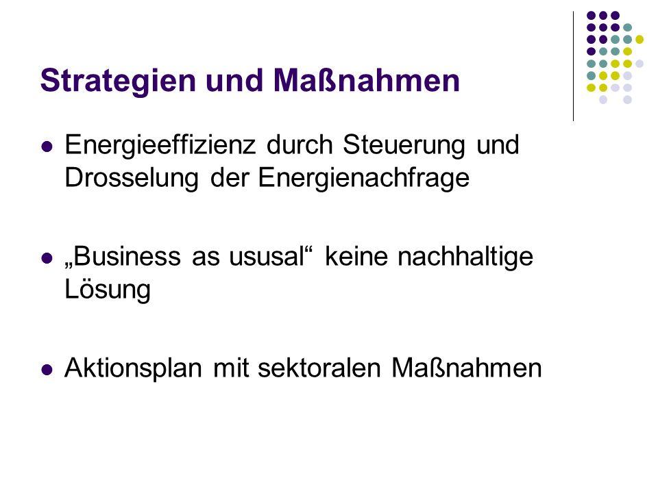 Strategien und Maßnahmen Energieeffizienz durch Steuerung und Drosselung der Energienachfrage Business as ususal keine nachhaltige Lösung Aktionsplan