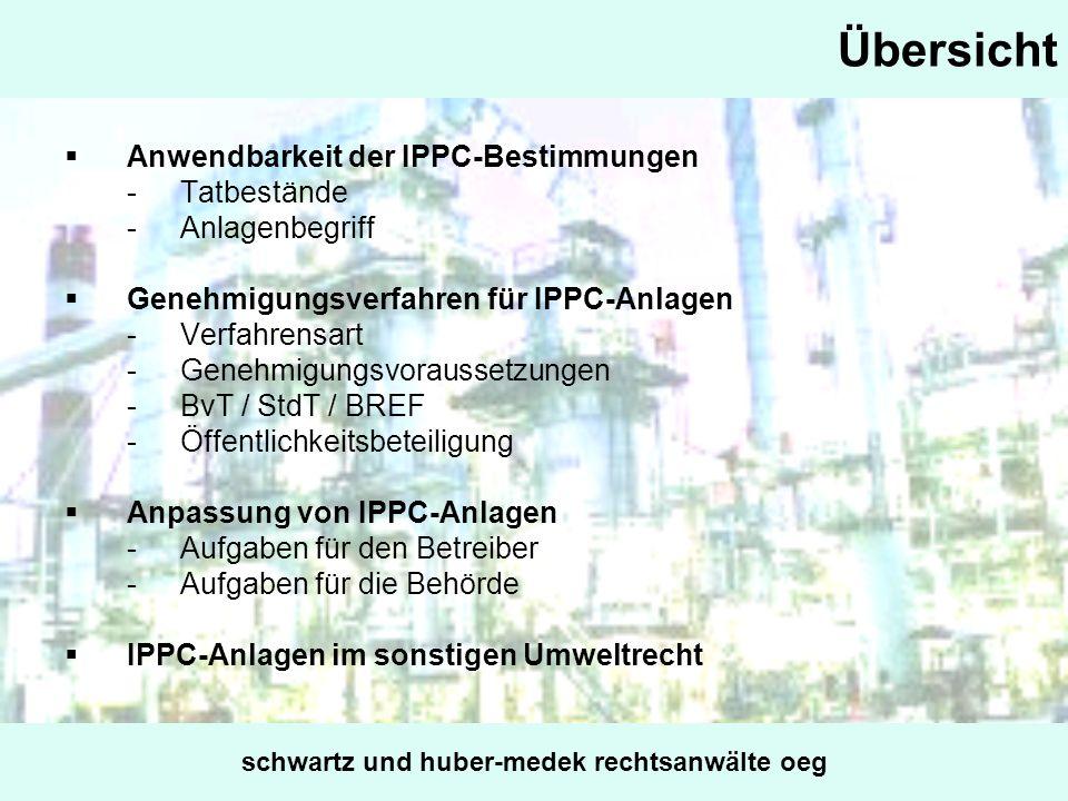 Übersicht Anwendbarkeit der IPPC-Bestimmungen -Tatbestände -Anlagenbegriff Genehmigungsverfahren für IPPC-Anlagen -Verfahrensart -Genehmigungsvorausse