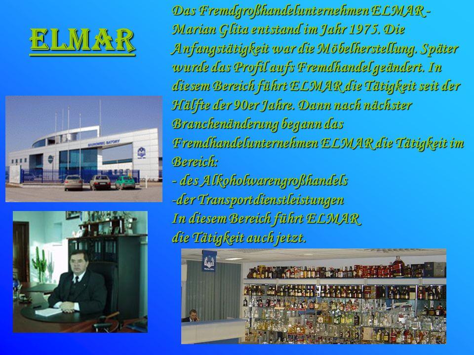 Das Fremdgroßhandelunternehmen ELMAR - Marian Glita entstand im Jahr 1975. Die Anfangstätigkeit war die Möbelherstellung. Später wurde das Profil aufs