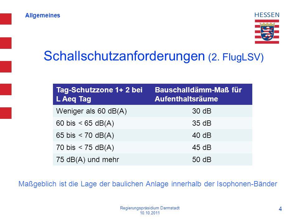 Allgemeines Schallschutzanforderungen (2. FlugLSV) Regierungspräsidium Darmstadt 10.10.2011 4 Tag-Schutzzone 1+ 2 bei L Aeq Tag Bauschalldämm-Maß für