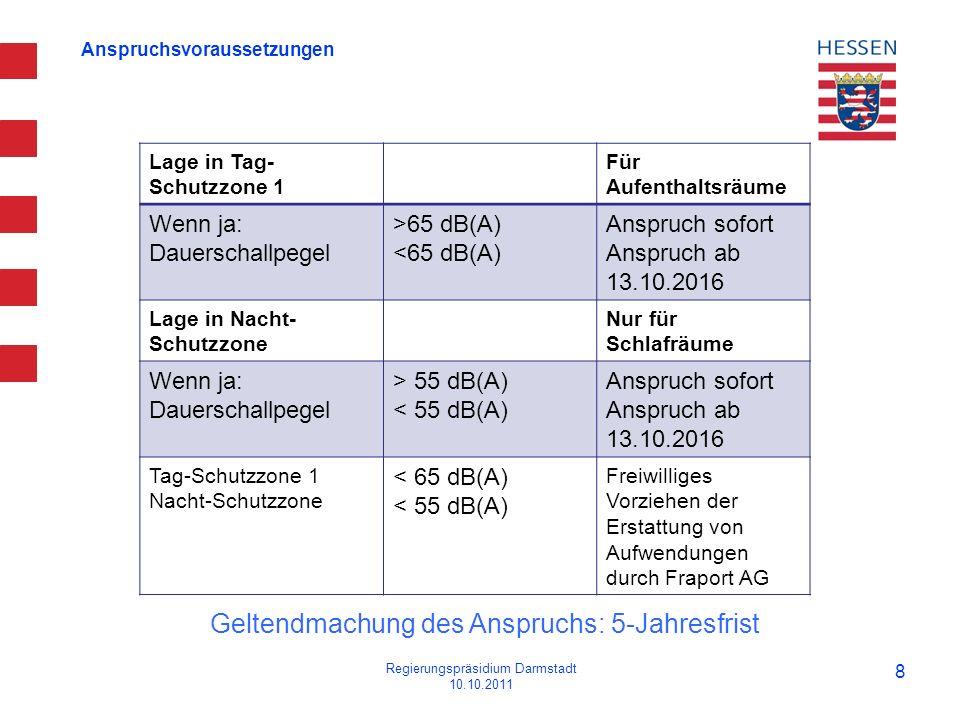 Anspruchsvoraussetzungen Regierungspräsidium Darmstadt 10.10.2011 8 Lage in Tag- Schutzzone 1 Für Aufenthaltsräume Wenn ja: Dauerschallpegel >65 dB(A)