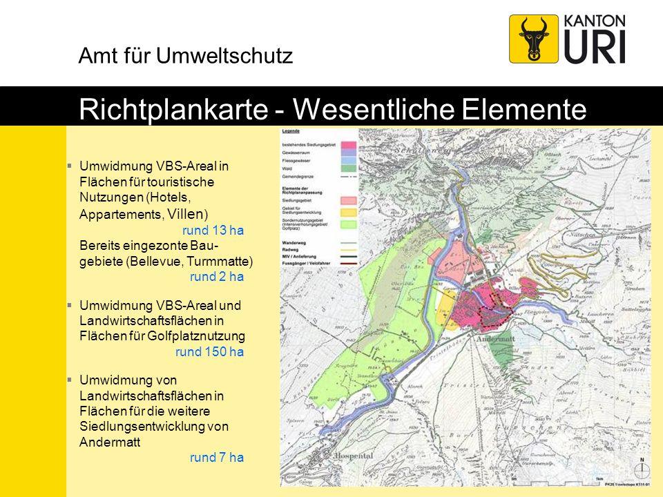 Amt für Umweltschutz Richtplankarte - Wesentliche Elemente Umwidmung VBS-Areal in Flächen für touristische Nutzungen (Hotels, Appartements, Villen ) r