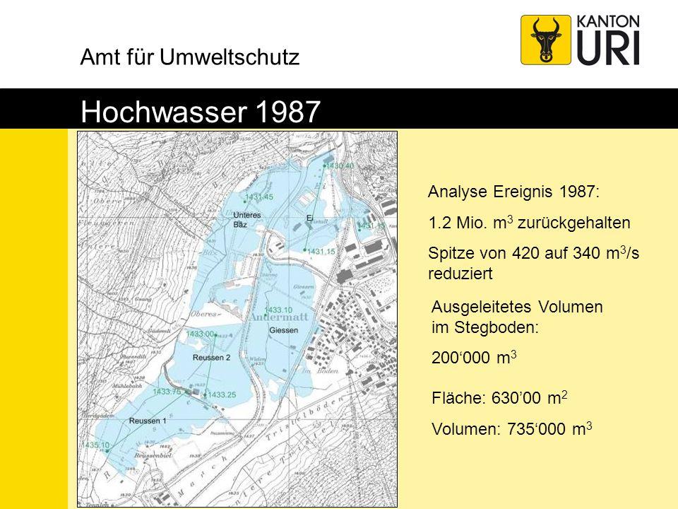 Amt für Umweltschutz Hochwasser 1987 Fläche: 63000 m 2 Volumen: 735000 m 3 Ausgeleitetes Volumen im Stegboden: 200000 m 3 Analyse Ereignis 1987: 1.2 M